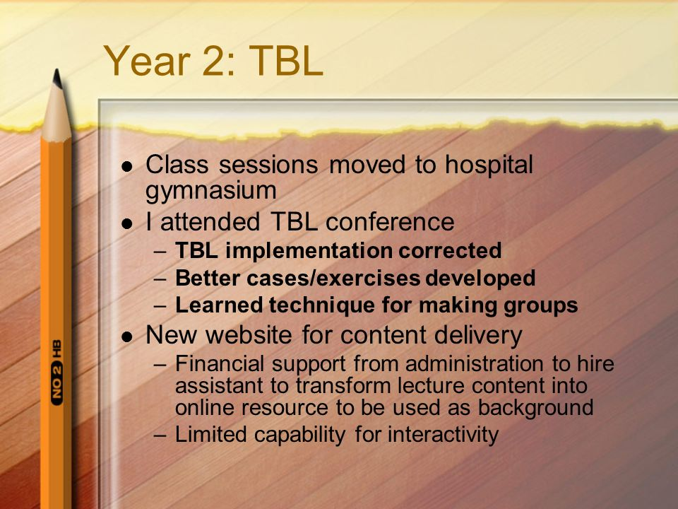 Year 2: TBL Class sessions moved to hospital gymnasium