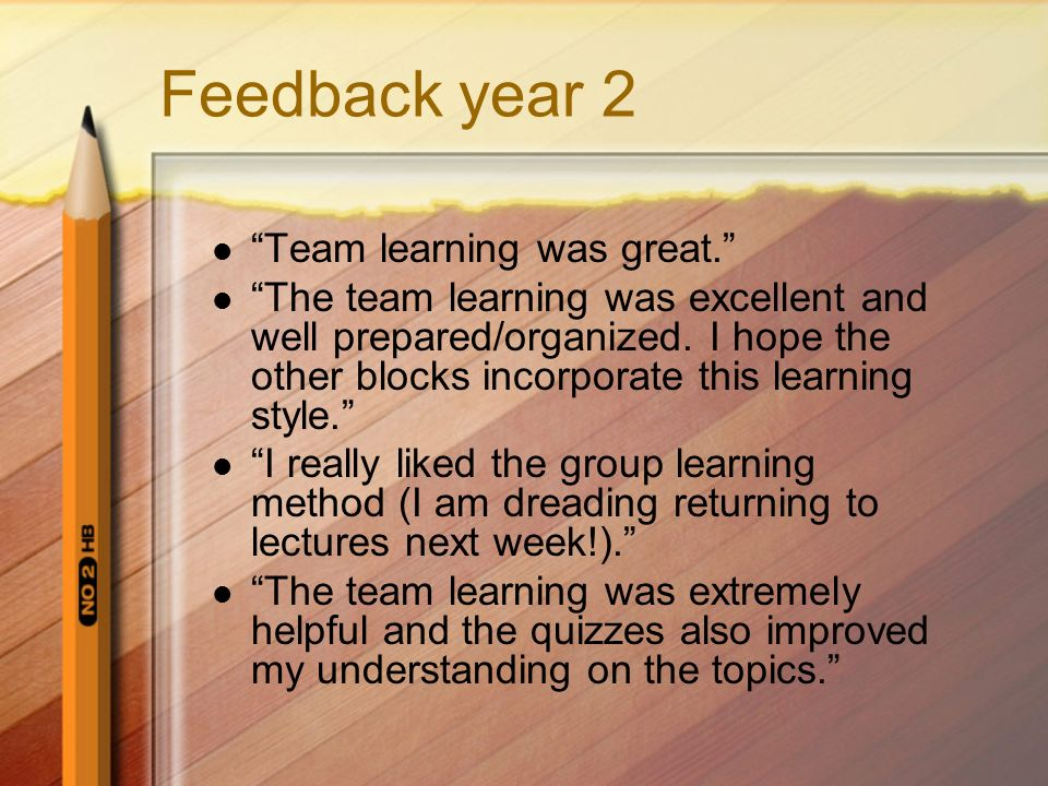 Feedback year 2 Team learning was great.