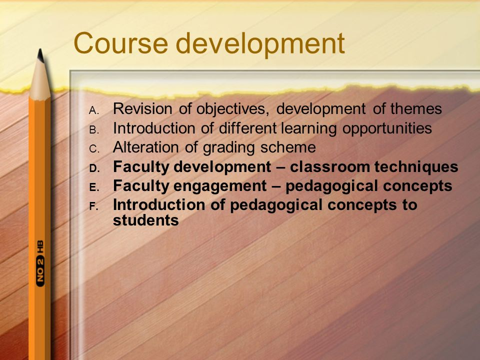 Course development Revision of objectives, development of themes