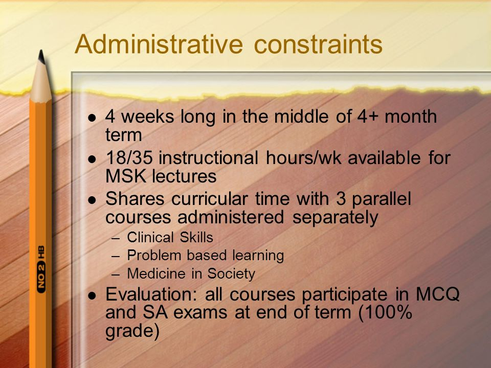 Administrative constraints