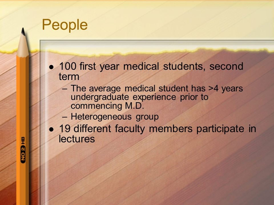 People 100 first year medical students, second term