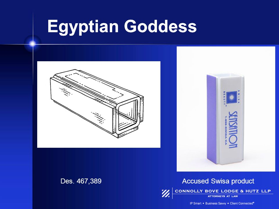 Egyptian Goddess Des. 467,389 Accused Swisa product
