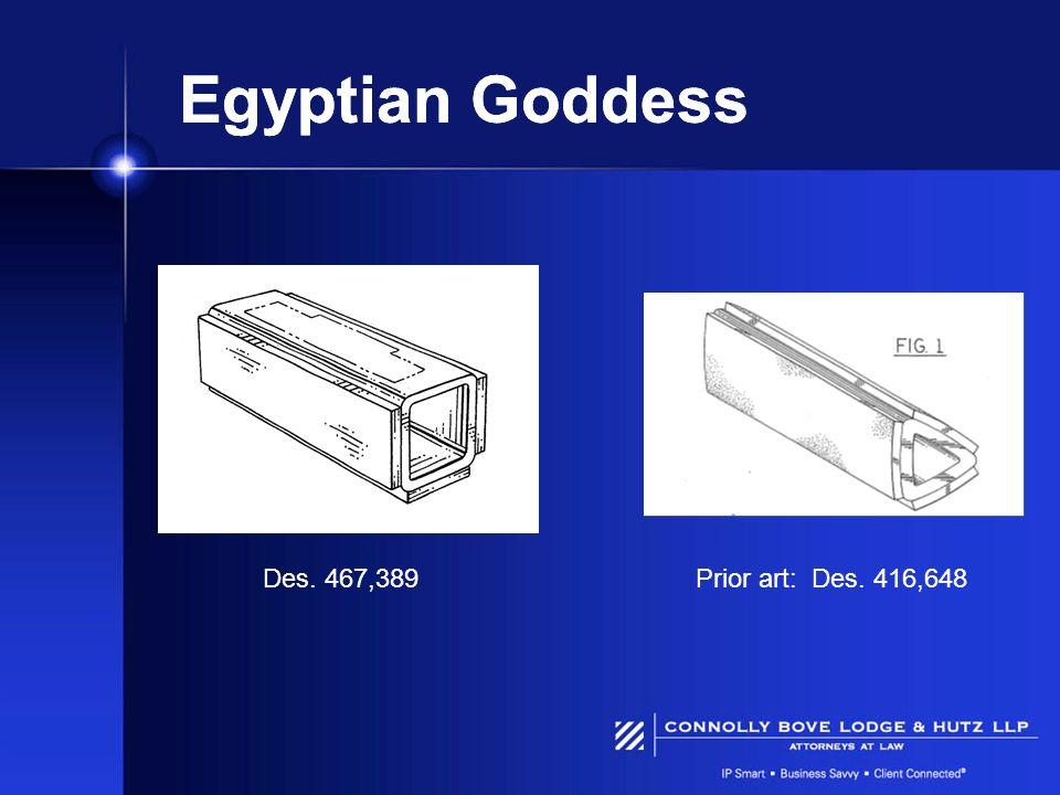 Egyptian Goddess Des. 467,389 Prior art: Des. 416,648