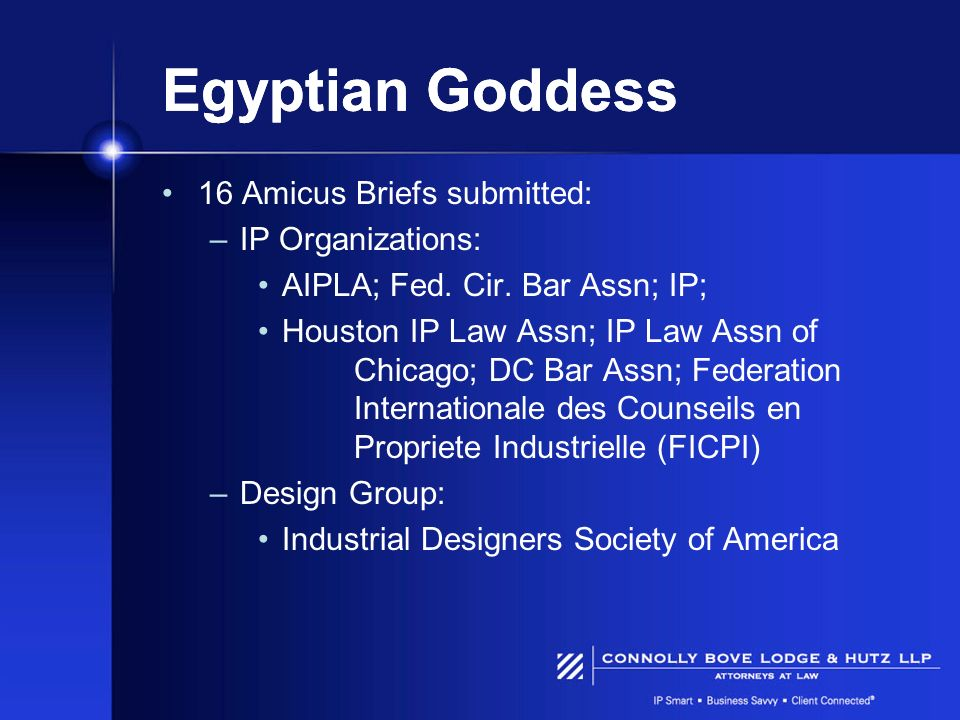 Egyptian Goddess 16 Amicus Briefs submitted: IP Organizations: