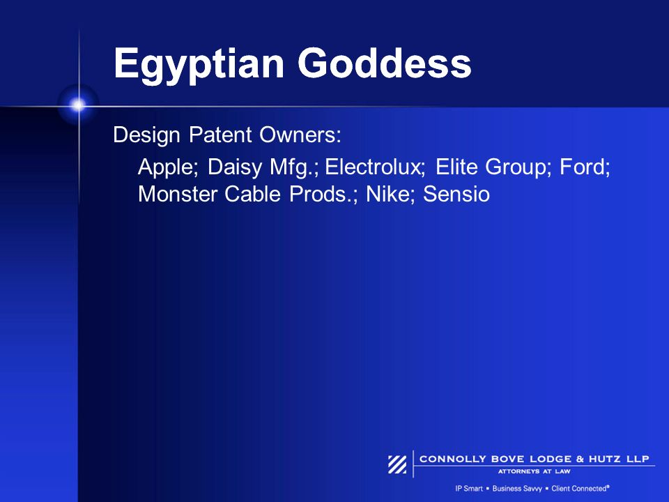 Egyptian Goddess Design Patent Owners: