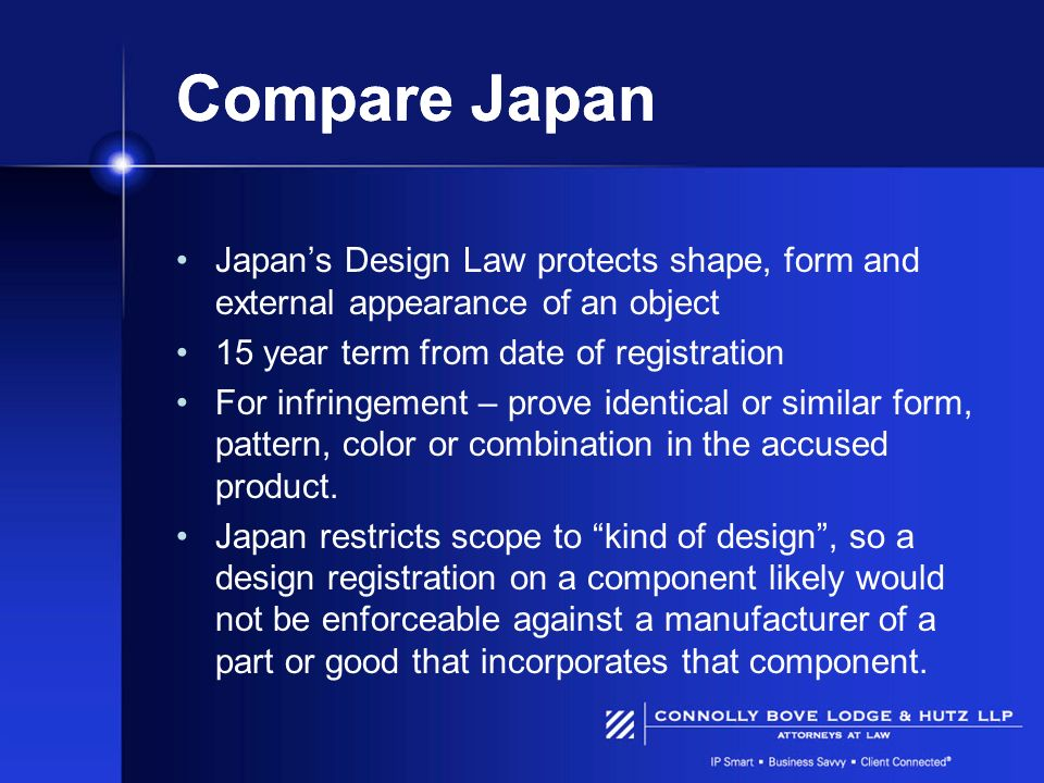 Compare Japan Japan's Design Law protects shape, form and external appearance of an object. 15 year term from date of registration.