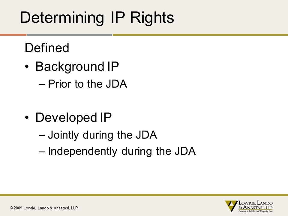 Determining IP Rights Defined Background IP Developed IP