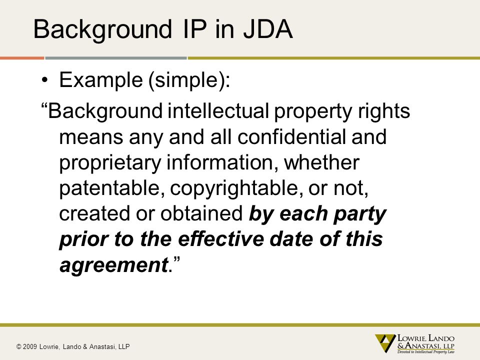 Background IP in JDA Example (simple):