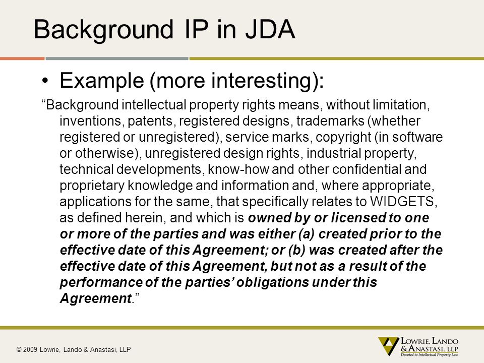 Background IP in JDA Example (more interesting):