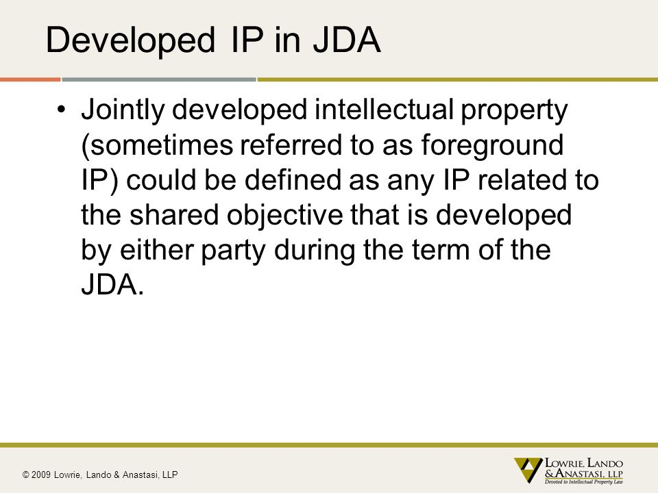 Developed IP in JDA