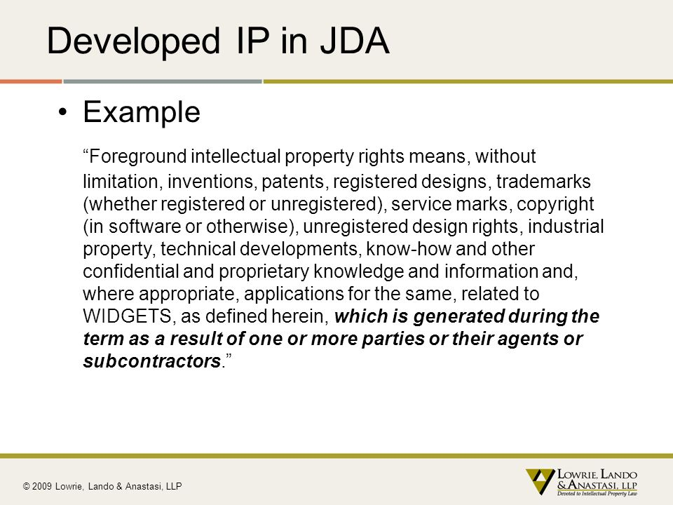 Developed IP in JDA Example