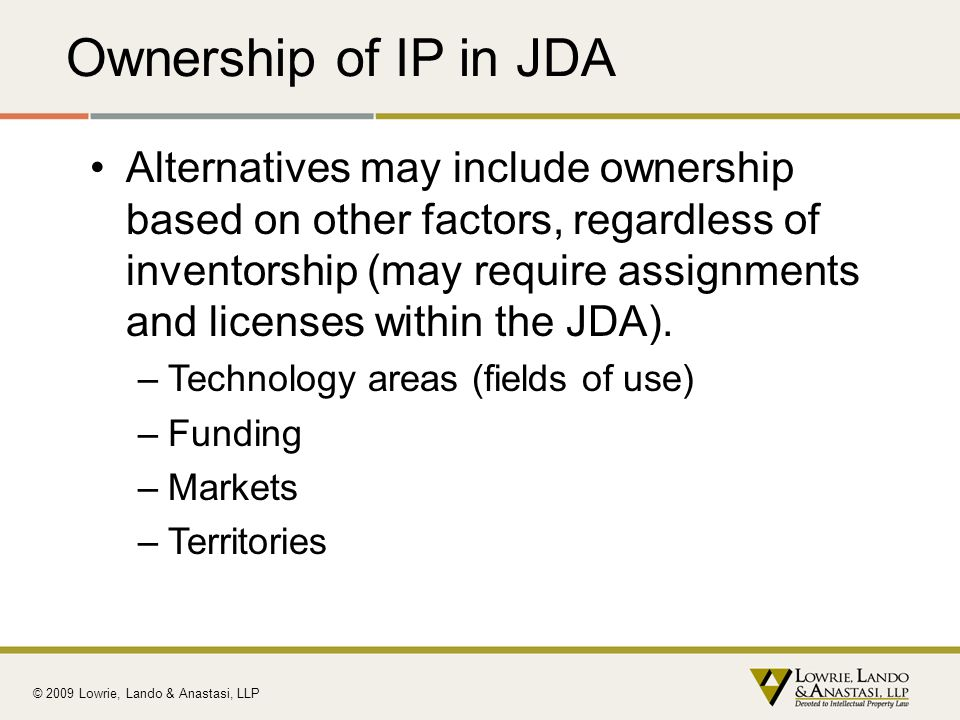 Ownership of IP in JDA