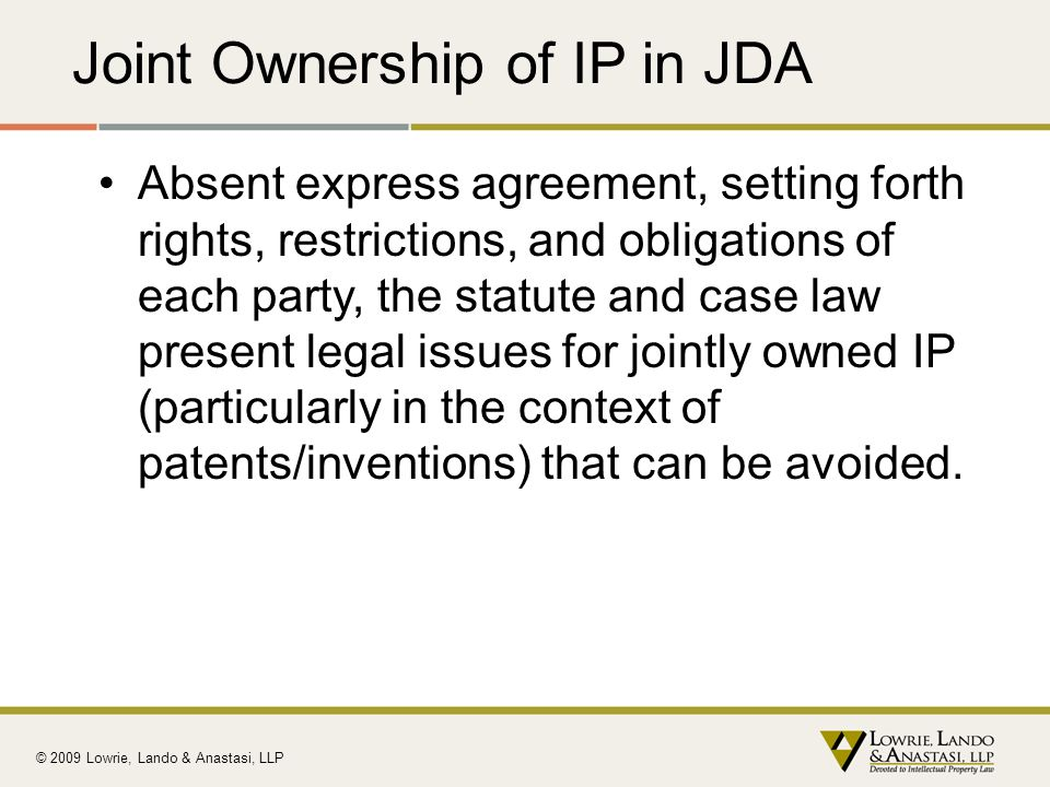 Joint Ownership of IP in JDA