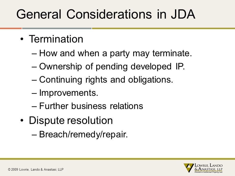 General Considerations in JDA