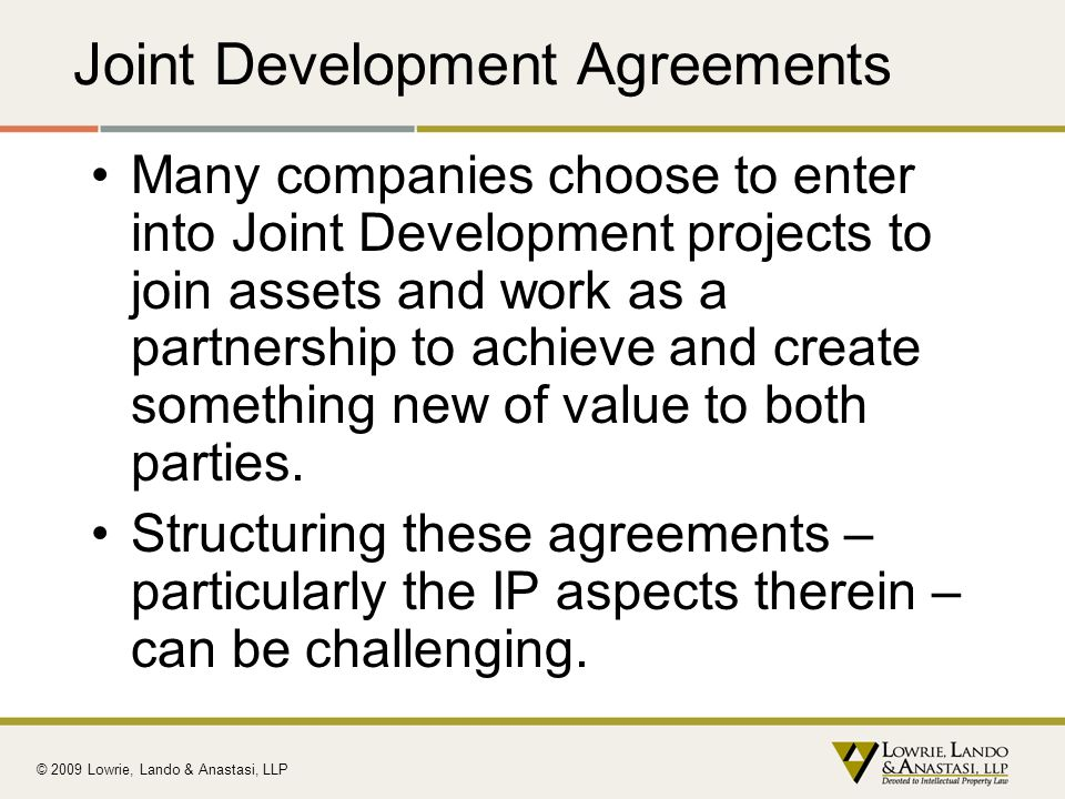 Joint Development Agreements