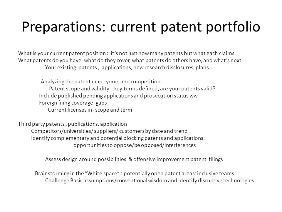 Preparations: current patent portfolio
