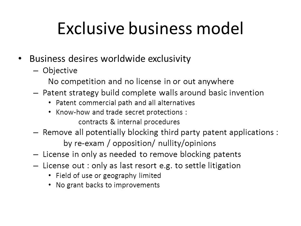 Exclusive business model