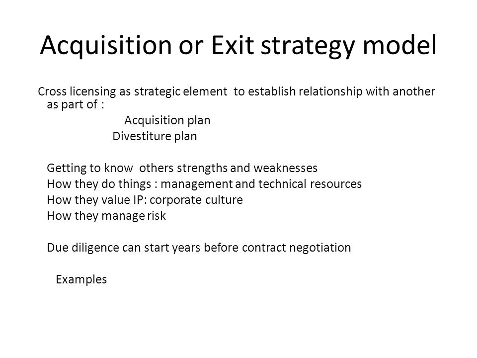 Acquisition or Exit strategy model