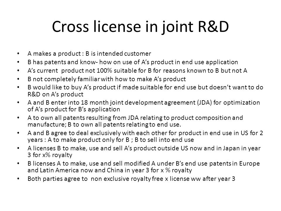 Cross license in joint R&D