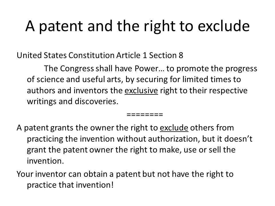 A patent and the right to exclude
