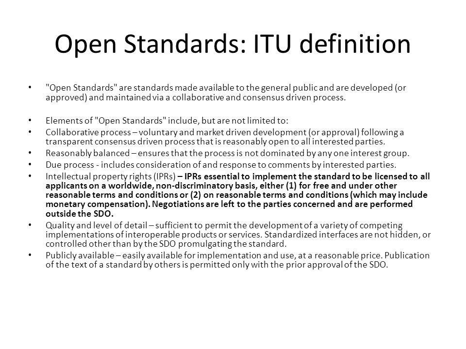 Open Standards: ITU definition