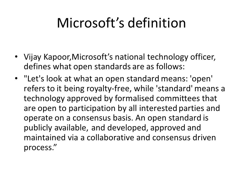 Microsoft's definition