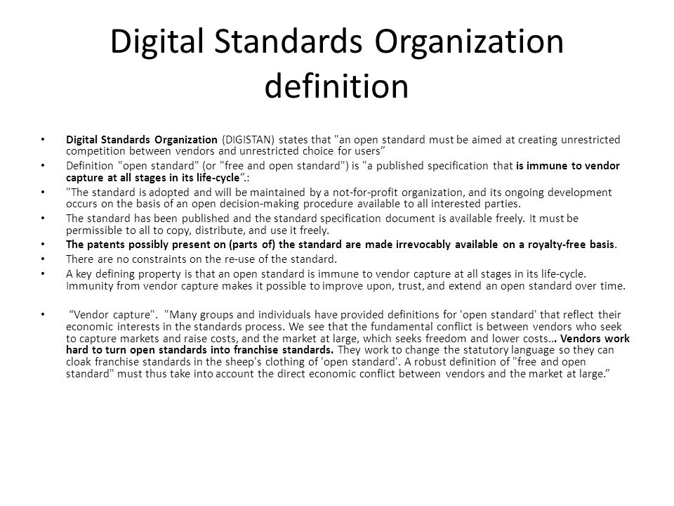 Digital Standards Organization definition