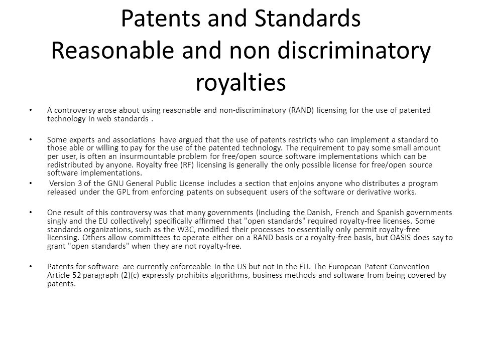 Patents and Standards Reasonable and non discriminatory royalties