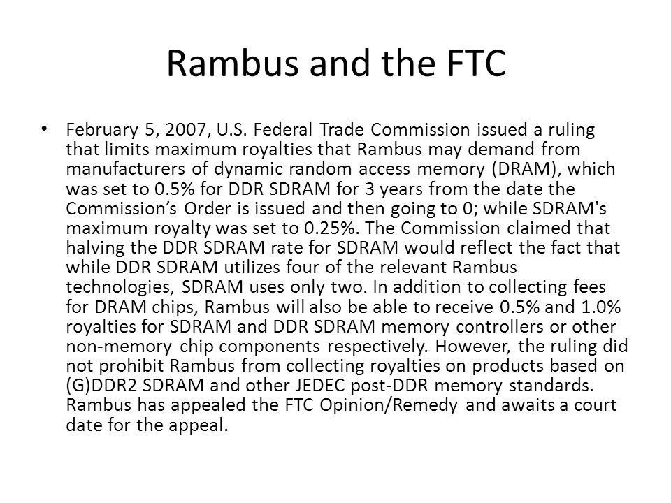 Rambus and the FTC