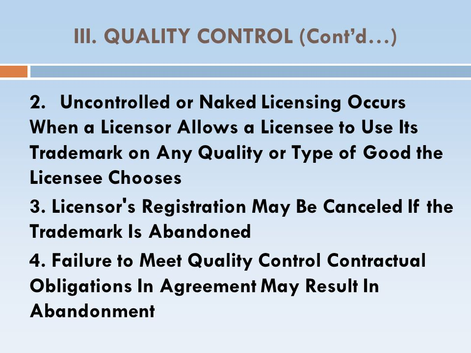 III. QUALITY CONTROL (Cont'd…)‏