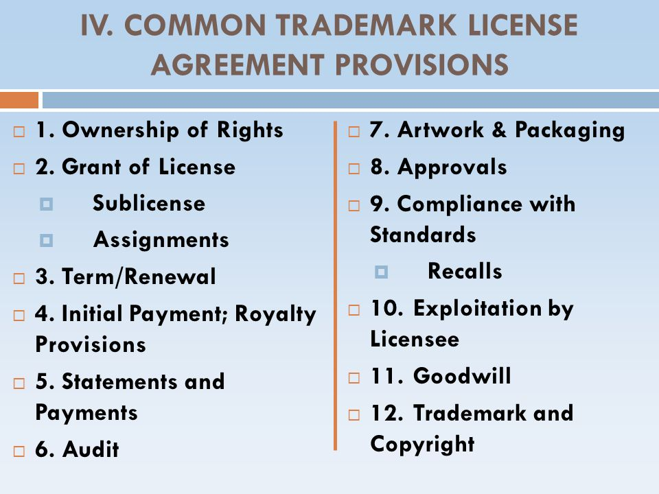 IV. COMMON TRADEMARK LICENSE AGREEMENT PROVISIONS