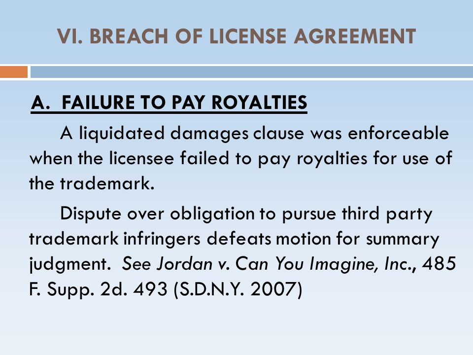 VI. BREACH OF LICENSE AGREEMENT