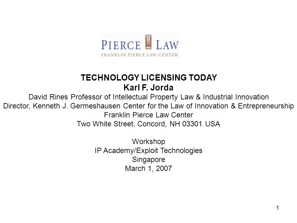 TECHNOLOGY LICENSING TODAY Karl F. Jorda