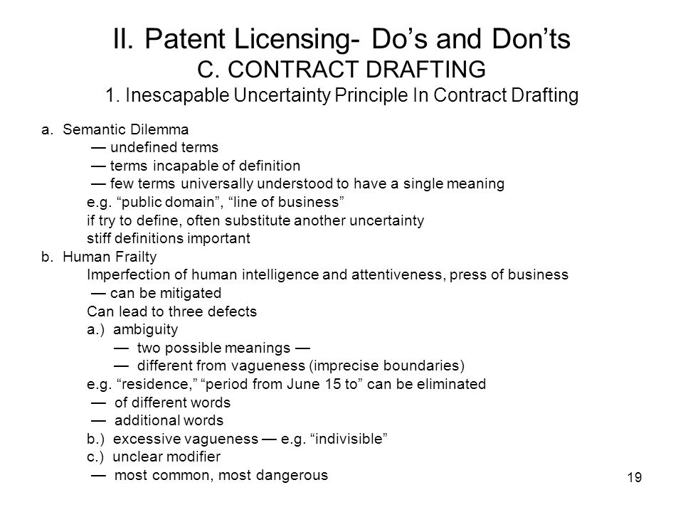 II. Patent Licensing- Do's and Don'ts C. CONTRACT DRAFTING 1