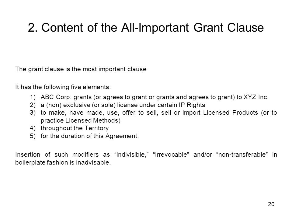 2. Content of the All-Important Grant Clause