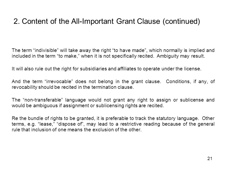 2. Content of the All-Important Grant Clause (continued)