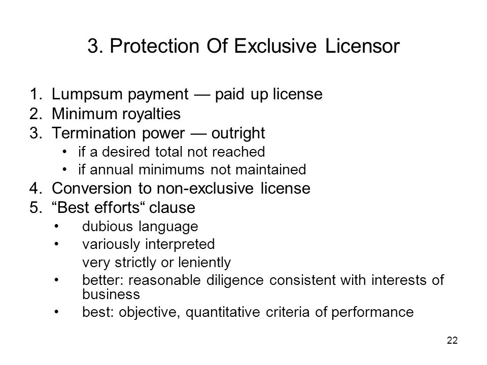 3. Protection Of Exclusive Licensor