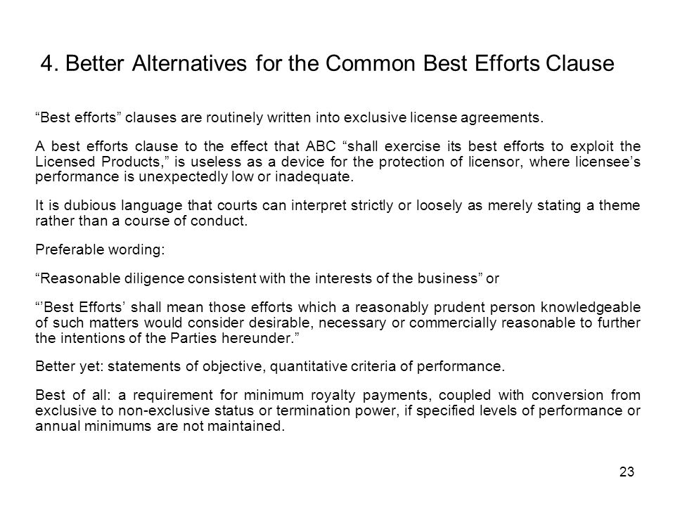 4. Better Alternatives for the Common Best Efforts Clause