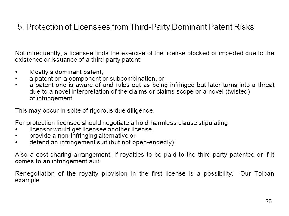 5. Protection of Licensees from Third-Party Dominant Patent Risks