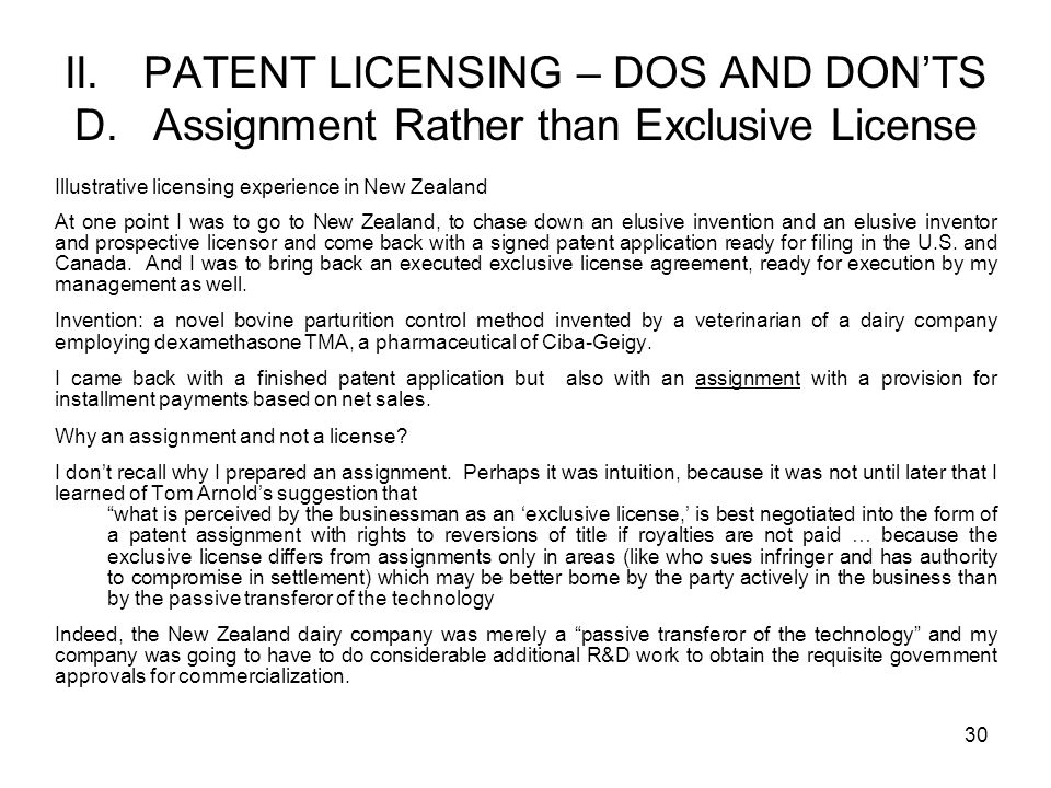 II. PATENT LICENSING – DOS AND DON'TS D