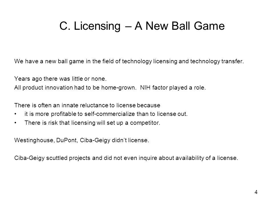 C. Licensing – A New Ball Game