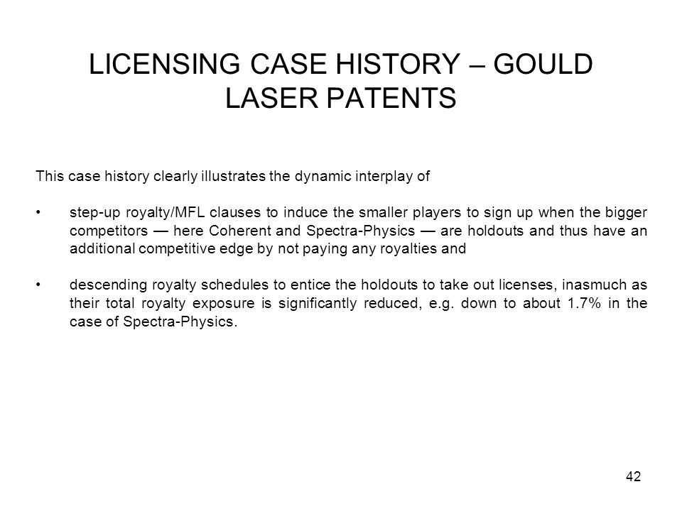 LICENSING CASE HISTORY – GOULD LASER PATENTS