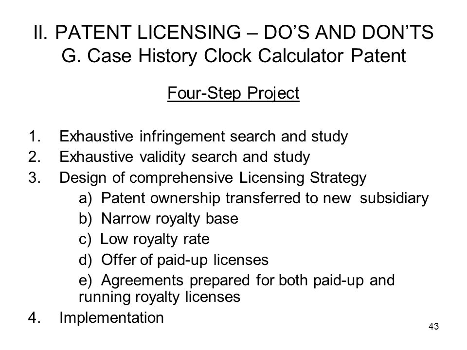 II. PATENT LICENSING – DO'S AND DON'TS G