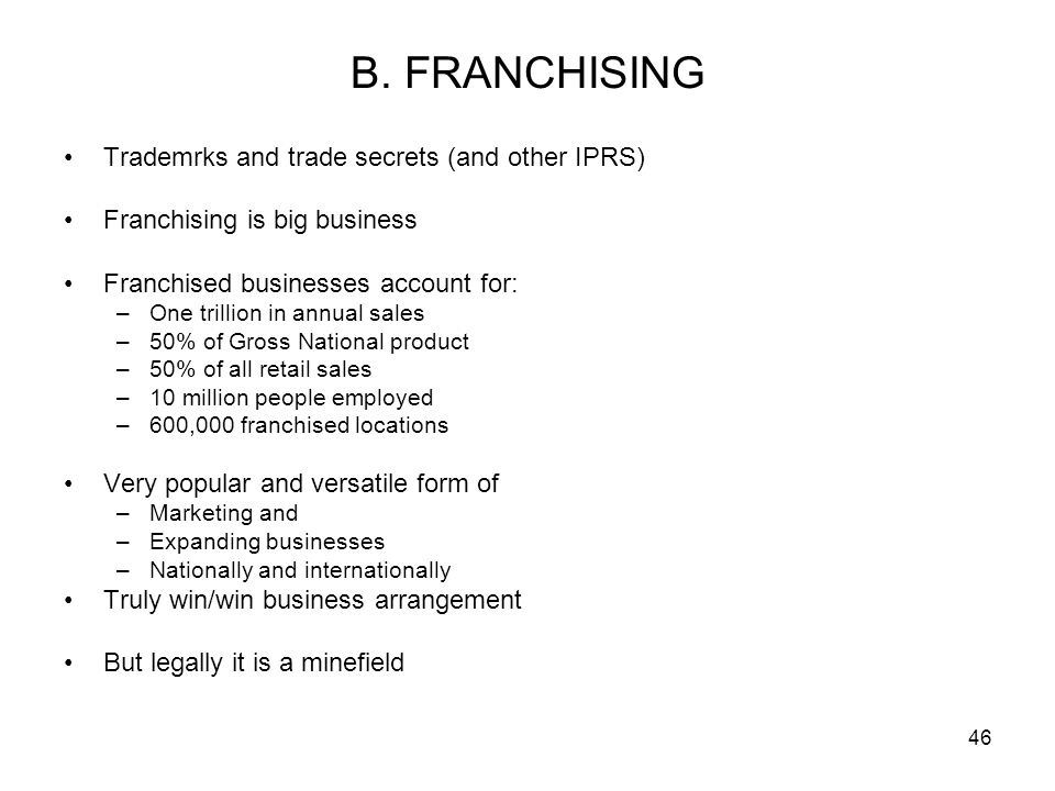 B. FRANCHISING Trademrks and trade secrets (and other IPRS)