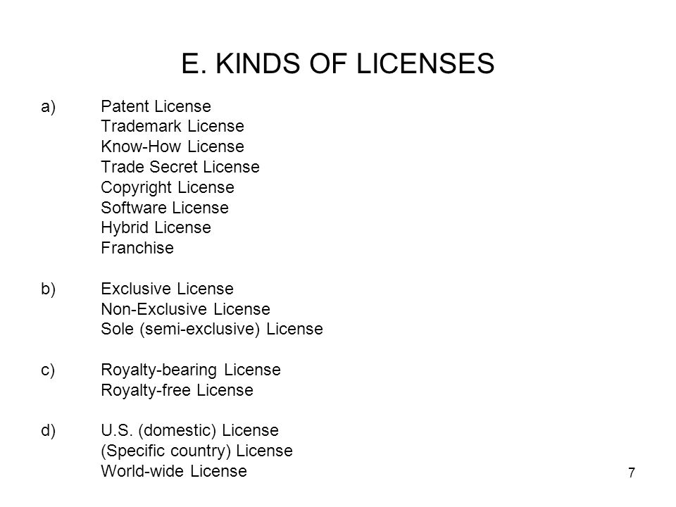 E. KINDS OF LICENSES Patent License Trademark License Know-How License