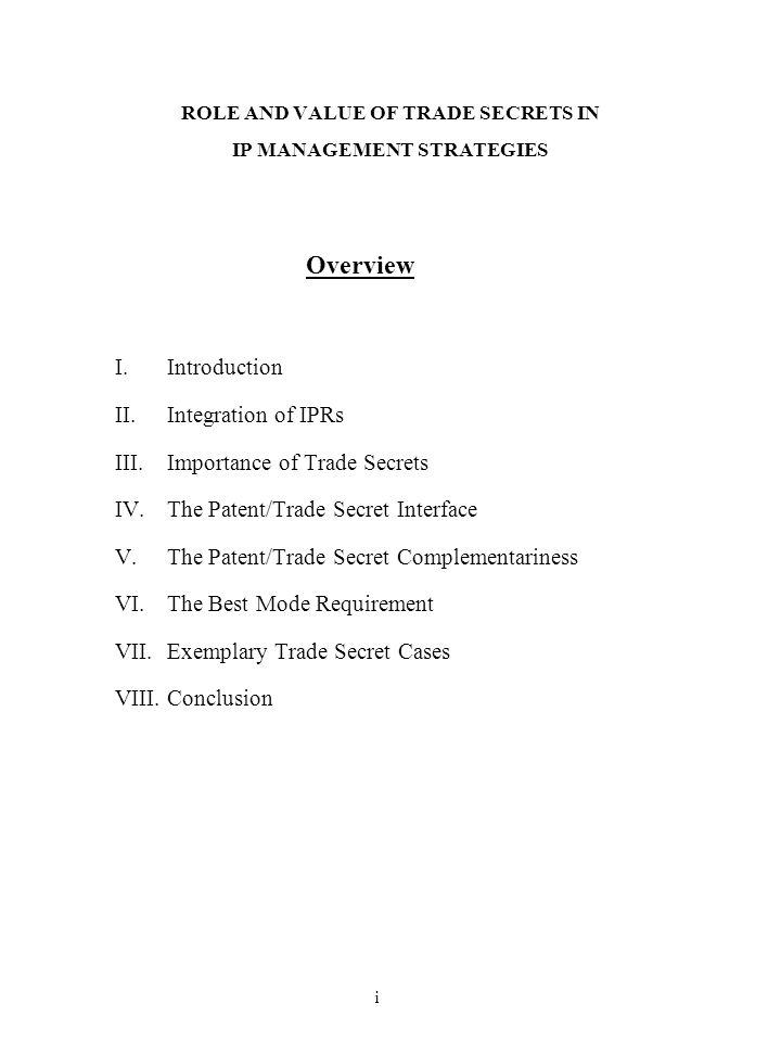 ROLE AND VALUE OF TRADE SECRETS IN IP MANAGEMENT STRATEGIES
