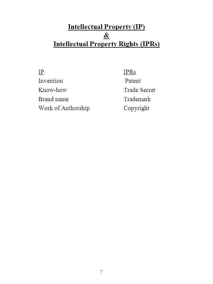 Intellectual Property (IP) & Intellectual Property Rights (IPRs)