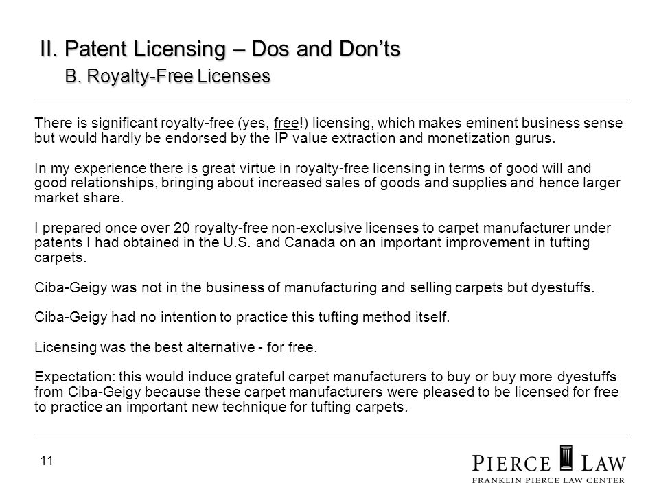 II. Patent Licensing – Dos and Don'ts B. Royalty-Free Licenses