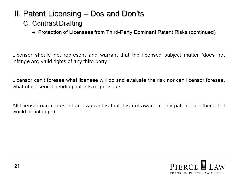 II. Patent Licensing – Dos and Don'ts. C. Contract Drafting. 4