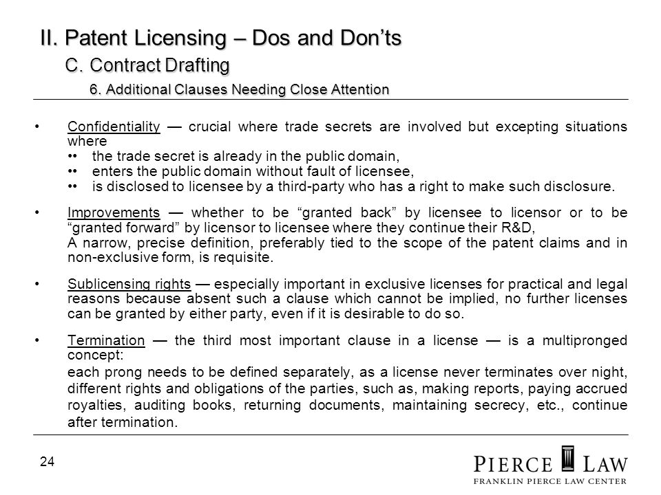 II. Patent Licensing – Dos and Don'ts. C. Contract Drafting. 6
